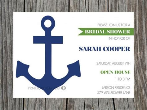 printable nautical bridal shower invitations printable bridal shower invitation nautical anchor navy