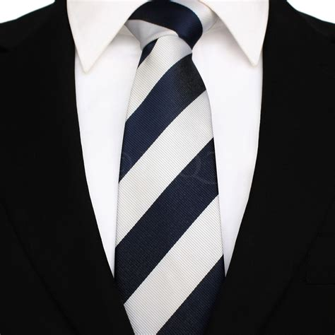 mens navy blue and white striped tie
