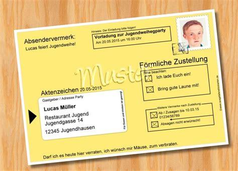 Muster Einladung Karte Einladungskarten Jugendweihe