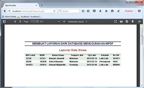 membuat laporan pdf berbasis web dengan php membuat laporan dari database dengan mpdf php cantha family