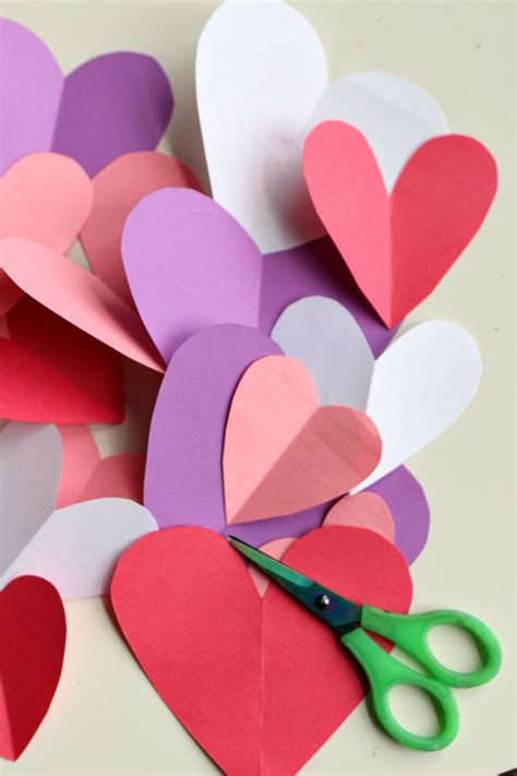 Craft Paper Hearts - easy s day craft no time for flash cards