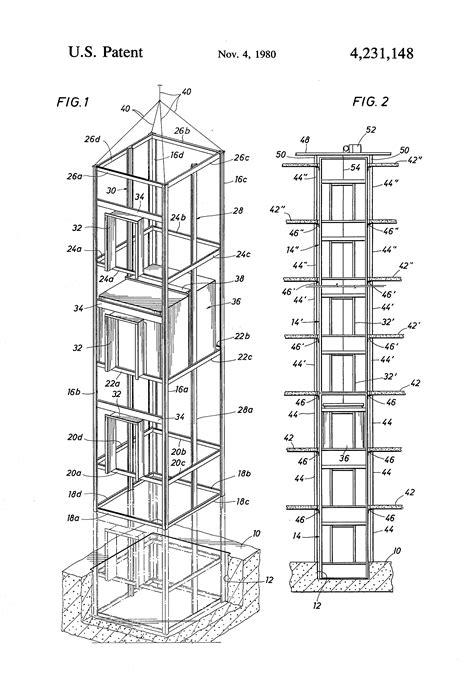 elevator shaft section patent us4231148 elevator erection method google patents