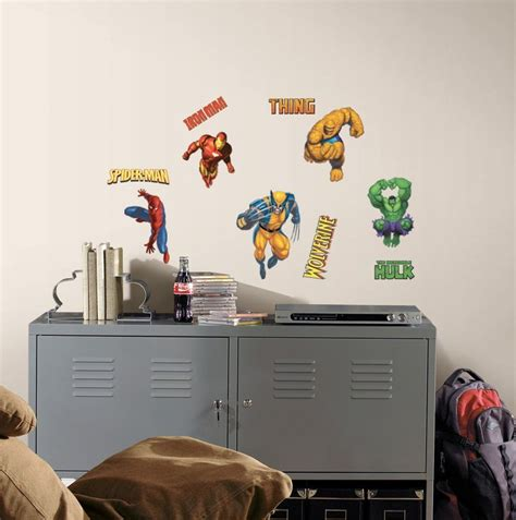 marvel heroes wall stickers roommates rmk1154scs marvel heroes peel and stick wall