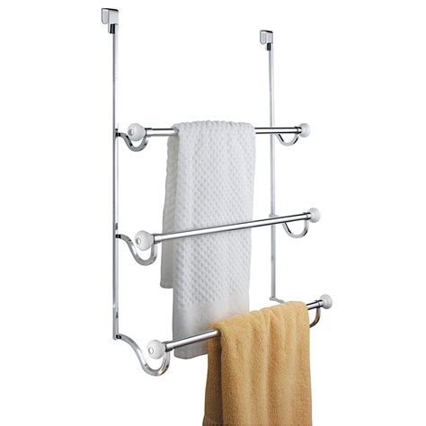 Shower Door Towel Rack Interdesign York The Shower Door 3 Bar Towel Rack White And Chrome New Ebay