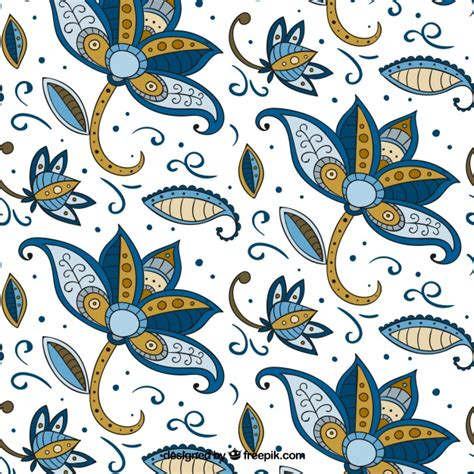 modern batik pattern vector flower pattern hand drawn in batik style vector free