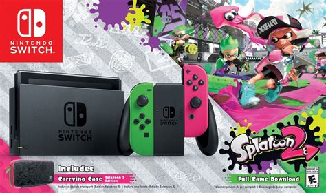 Nintendo Switch Neon Blue Include 2 1 2 Switch colourful nintendo switch splatoon 2 edition bundle is