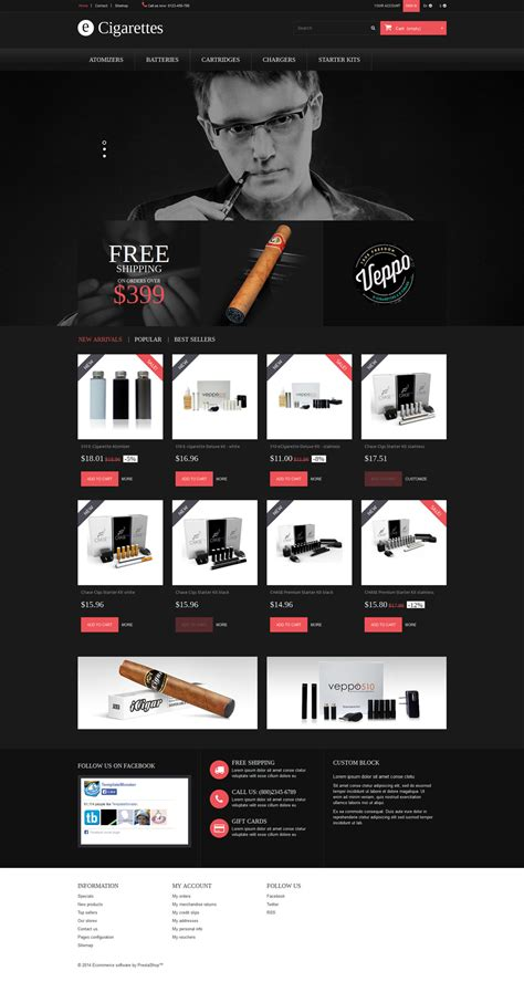 Cigar Smoking Prestashop Theme 52326 Cigar Website Templates