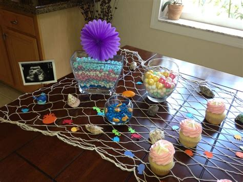 the sea baby shower table decoration for baby