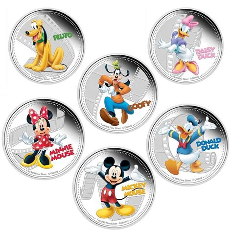 Fuller 1 Set mix6pcs set mickey coin 1oz mickey mouse donald duck duck minnie mouse and friends