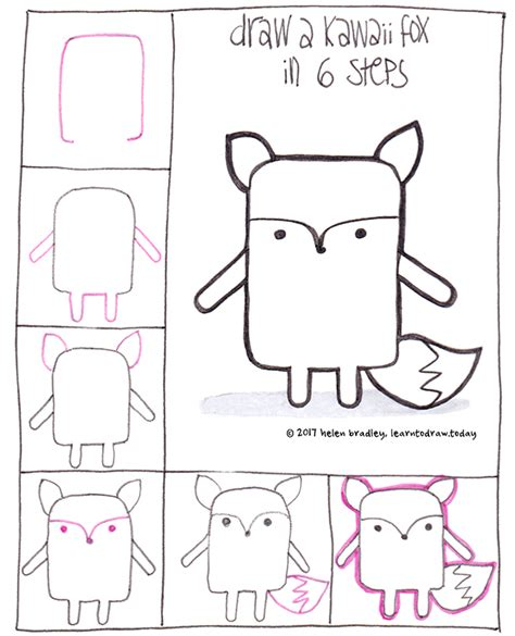 learn how to draw doodle learn to draw a kawaii fox in 6 steps kawaii and