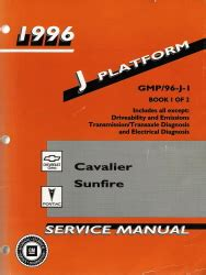 1996 chevrolet cavalier pontiac sunfire factory service manual