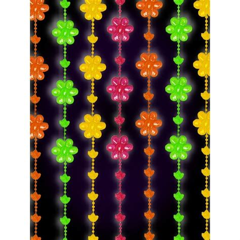 blacklight reactive beaded curtain flowers ebay