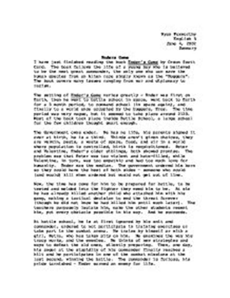 Enders Book Review Essay by Enders Summary Gcse Marked By Teachers