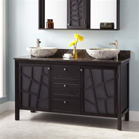 dual sink bathroom vanity 60 quot louise double vessel sink vanity dark brown double