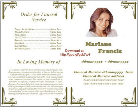 Funeral Service Card Templates by Memorial Service Programs Template Microsoft Office Word