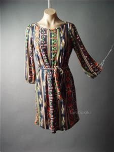 Mini Dress Baju Terusan Import Original Tribal Pattern L 70s boho southwest desert tribal print sash tie waist casual 99 mv dress s m l ebay