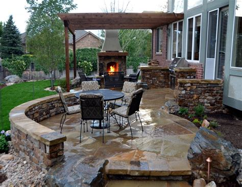 Lovely Outdoor Kitchen Patio Design Ideas Using Blue Backyard Patio Designs Pictures