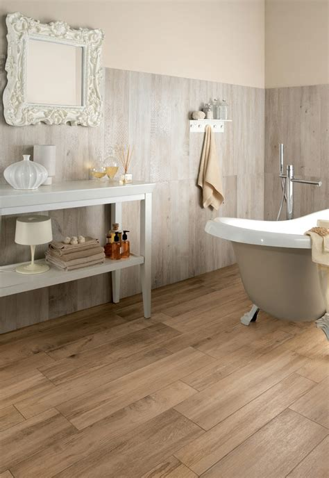 bathtub in floor wood look tiles
