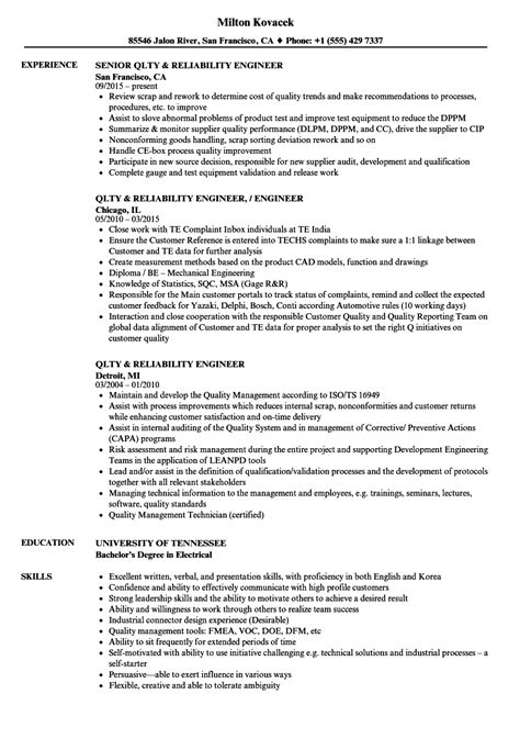 qlty reliability engineer resume sles velvet jobs
