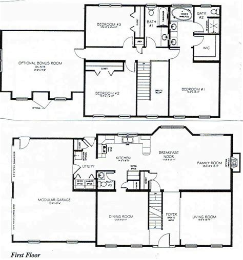 2 floor plans two story house plans