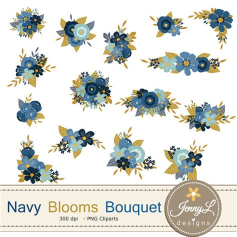 Navy Wedding Clipart by Navy Blue Flower Bouquet Clipart Wedding Flowers Flower