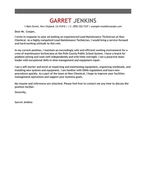 facility lead maintenance cover letter exles