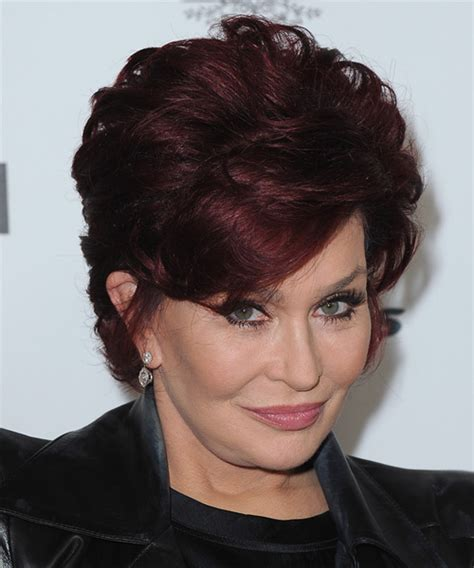 back view of sharob osbournes hair sharon osbourne short straight formal hairstyle dark red
