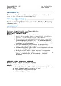 Resume Sles For 2 Years Experience by Resume Electronics Engineer 3years Experience