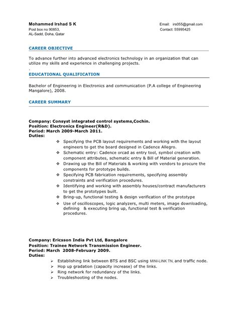 Resume Sles For Experienced Electronics And Communication Engineers sle resume format for 3 years experience sle resume