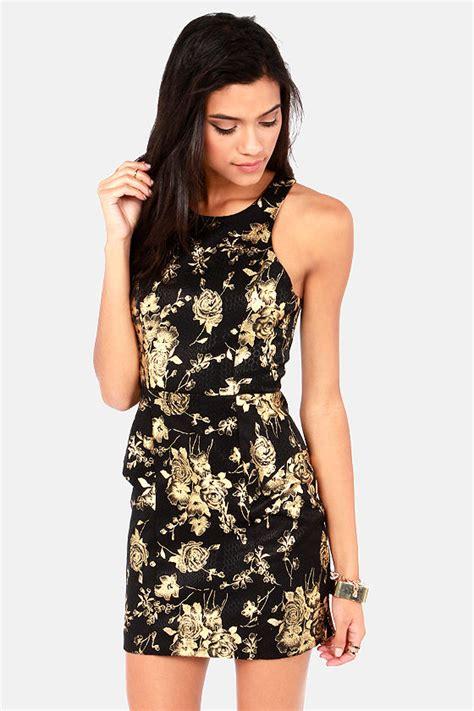 Yuana Flowery Flare Mini Dress black dress floral print dress gold dress