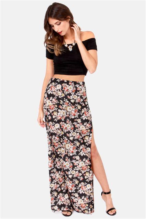 Black Slit Roses S M L Skirt 43355 1 floral print skirt maxi skirt high waisted skirt black skirt 41 00