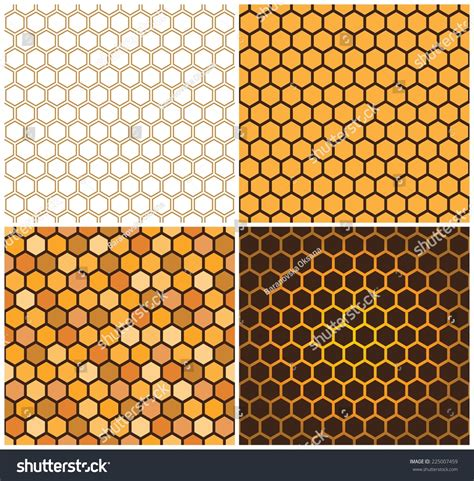 honey pattern vector seamless vector pattern of honey cells combs set of four