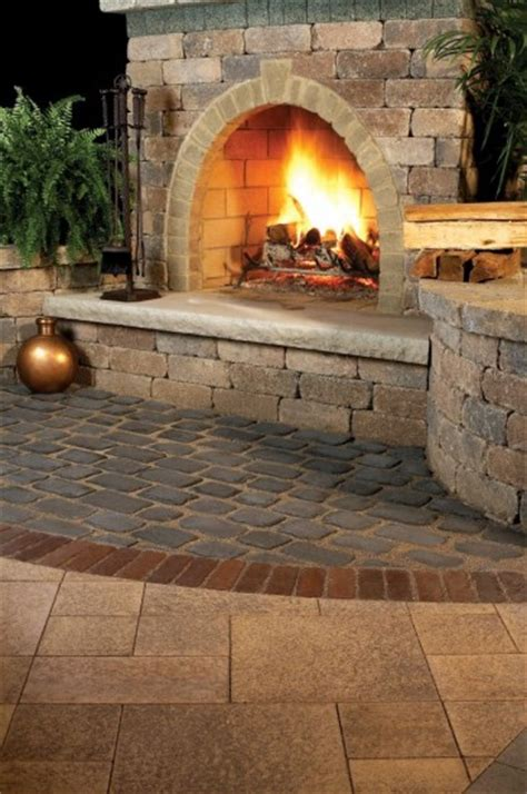 Unilock Fireplace Kits by Outdoor Living With Fireplace And Umbriano Paver Courtstone Accent By Unilock Photos