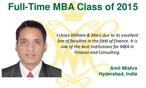 Mba In Abundance by Why W M The Class Of 2015