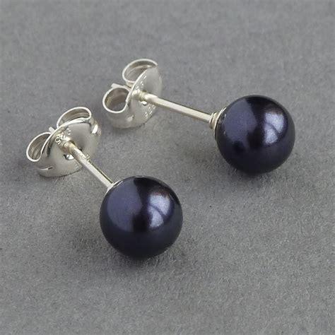 Swarovski 6027 Silver Black purple pearl earrings pearl leverback drop