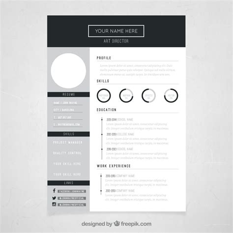 Resume Template Design by 10 Top Free Resume Templates Freepik