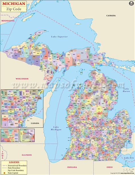 zip code maps com buy michigan zip code map
