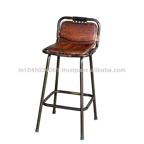 bar stool leather seat vintage heighted leather seat bar stool buy living room