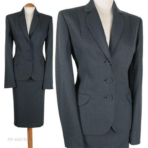 uk8 10 us4 6 next grey dotty pencil skirt suit wool womens