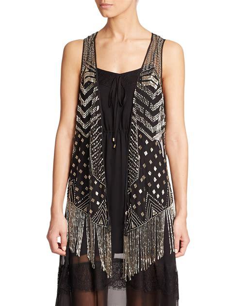 Haute Hippie Beaded Fringe Vest In Black Black Antique