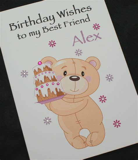 large handmade personalised birthday card teddy
