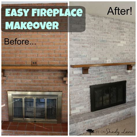 easy fireplace makeover how to whitewash a brick fireplace life on shady lane