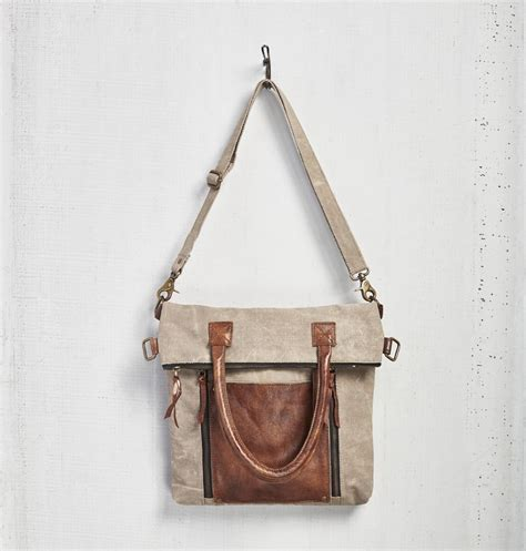 Mona Tote Bag Brown fold convertible tote bag light brown by mona b