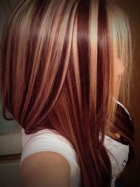 hairstyles red with blonde highlights lowlights hair color hairs picture gallery