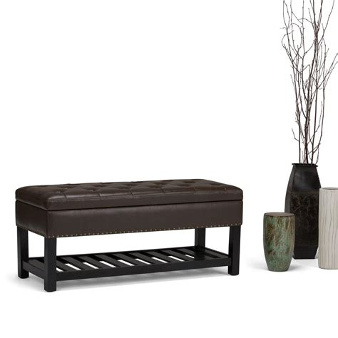 brown faux leather storage ottoman simpli home lomond chocolate brown pu faux leather storage