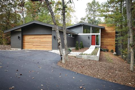Ranch Remodel Exterior Dark Grey Wood Exterior Midcentury With Clerestory Windows