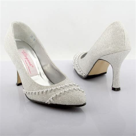 Wedding Shoes Mid Heel by Mid Heel Closed Toes Sparkling Silver Dyeable Wedding