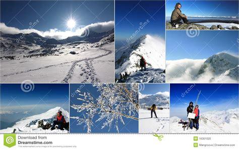 fotos rumania invierno rumania collage de la monta 241 a en invierno foto de archivo