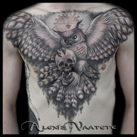 owl and skull tattoo black grey chest by vaatete great horned