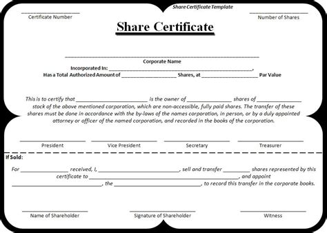 write share certificate words templates